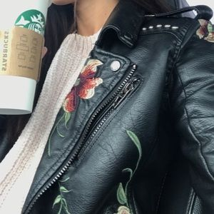 Blank nyc floral leather jacket
